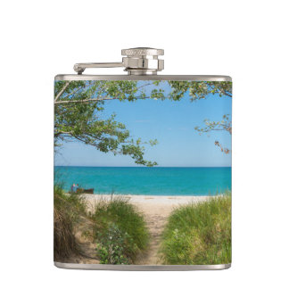 Lake Michigan Tranquility Hip Flask