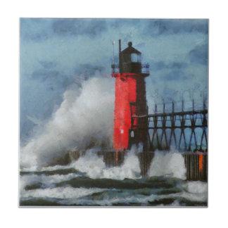 Lake Michigan Waves and Lighthouse Tile