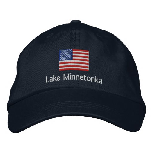 Lake Minnetonka American Flag Hat Embroidered Baseball Cap