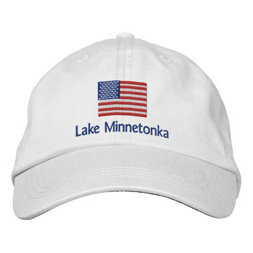 Lake MInnetonka American Flag - white cap Embroidered Baseball Caps
