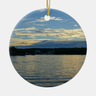 Lake Of The Ozarks Blue Sunset Round Ceramic Ornament