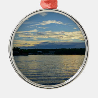 Lake Of The Ozarks Blue Sunset Silver-Colored Round Ornament