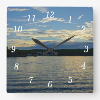 Lake Of The Ozarks Blue Sunset Square Wall Clock