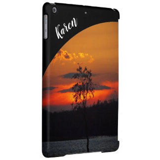 Lake Paradise sunset IPad case with name