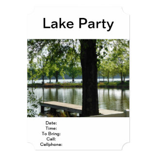 "Lake Party Fishing Picnic Barbecue Family Reunion 5"" X 7"" Invitation Card"