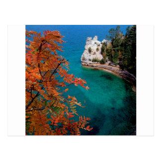 Lake Pictured Rocks Shore Superior Michigan Postcard