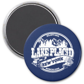 Lake Placid Old Circle Blue 3 Inch Round Magnet