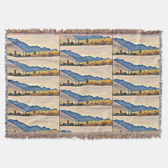 Lake Pleasant Saguaro Throw Blanket