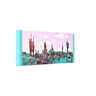 Lake Pleasant Turquoise Saguaros Canvas Art