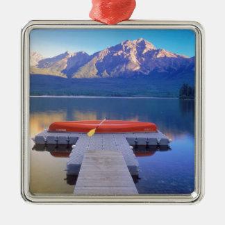 Lake Pyramid Jasper Park Alberta Canada Silver-Colored Square Ornament