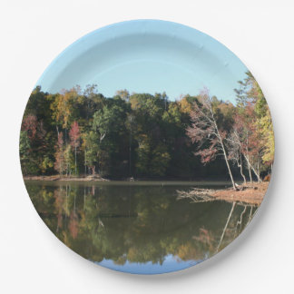 Lake Reflection of Orange Fall Leaves & Blue Skies 9 Inch Paper Plate