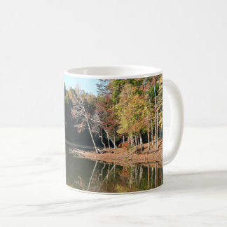 Lake Reflection of Orange Fall Leaves & Blue Skies Coffee Mug