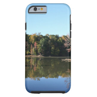 Lake Reflection of Orange Fall Leaves & Blue Skies Tough iPhone 6 Case