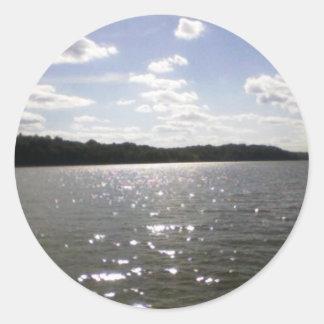 lake ripples classic round sticker