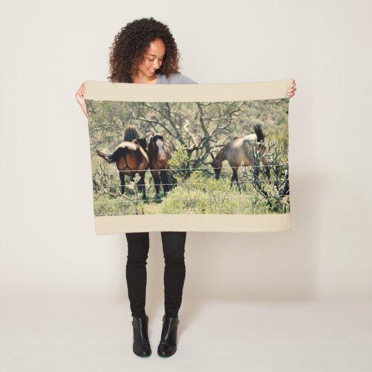 Lake Saguaro Wild Mustang Fleece Blanket
