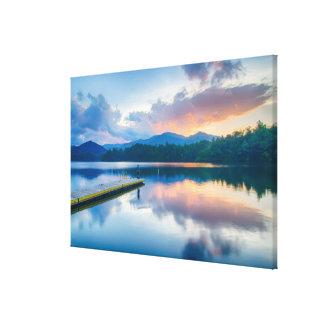 lake santeetlah great smoky mountains sunset canvas print