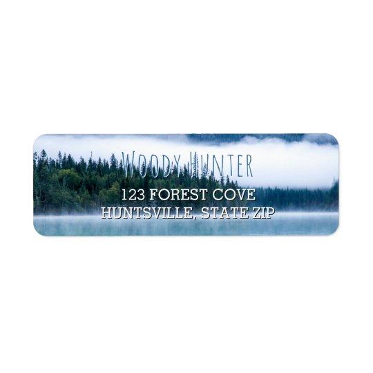 Lake Scene Pine Trees | Rustic Nature Photo Blue