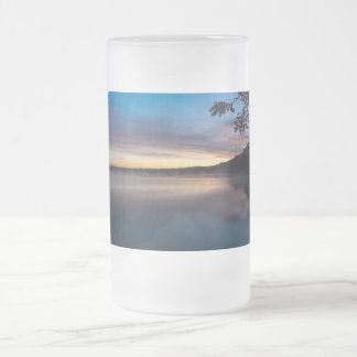 Lake Springfield Autumn Sunrise Frosted Glass Beer Mug