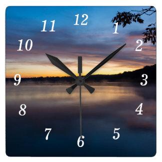 Lake Springfield Autumn Sunrise Square Wall Clock