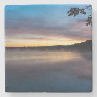 Lake Springfield Autumn Sunrise Stone Coaster