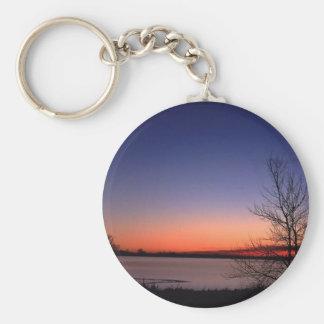 Lake Sunrise Basic Round Button Keychain