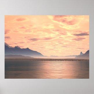 Lake Sunset 2 Generative Art Print print