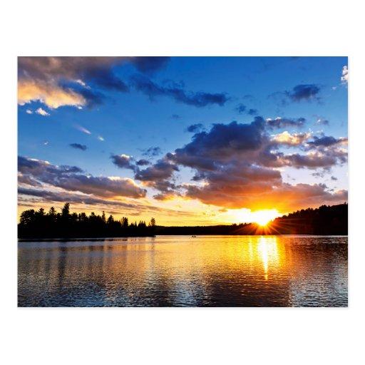 Lake sunset post card