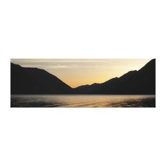 Lake Sunset Silhouette Landscape Photo Canvas Print