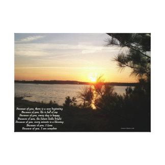 Lake sunset wrapped canvas
