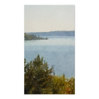 Lake Superior Beautiful Abstract Watercolor Poster