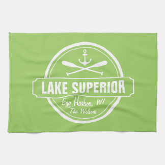 Lake Superior, custom town, name, anchor, paddles Kitchen Towel