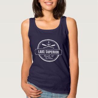 Lake Superior, custom town, name, anchor, paddles Tank Top
