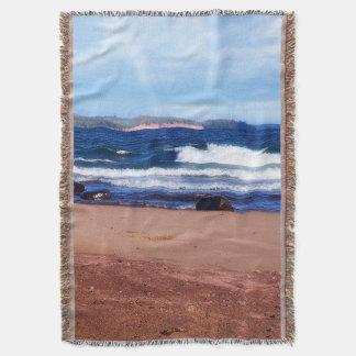 Lake Superior Shoreline Throw Blanket