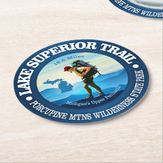 Lake Superior Trail (Hiker C) Round Paper Coaster