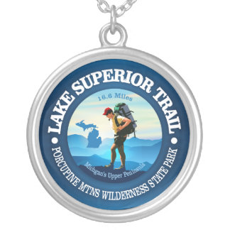 Lake Superior Trail (Hiker C) Silver Plated Necklace