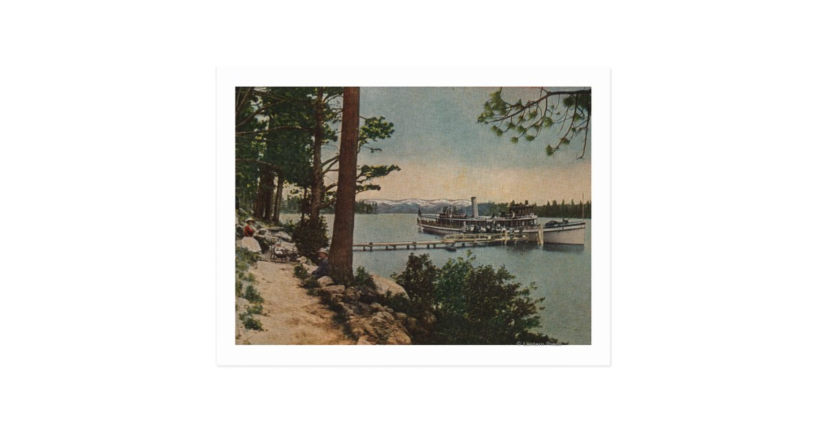 Lake Tahoe Ca Emerald Bay View With Steamer Postcard Zazzle