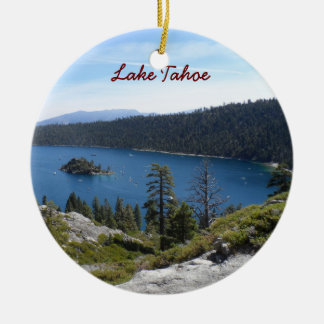 Lake Tahoe- Emerald Bay Round Ceramic Ornament
