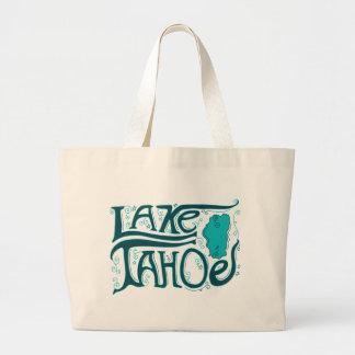 Lake Tahoe Hand Drawn Logo Large Tote Bag