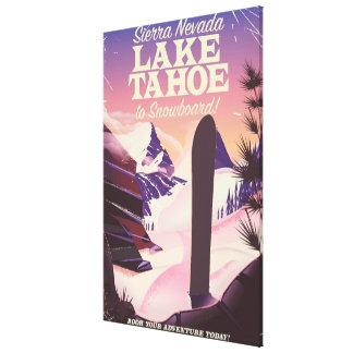 Lake Tahoe Sierra Nevada USA Snowboarding poster Canvas Print