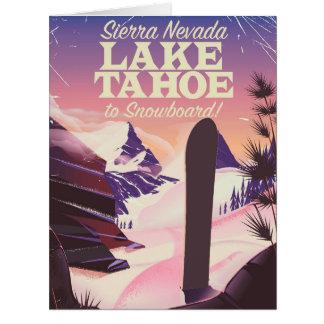 Lake Tahoe Sierra Nevada USA Snowboarding poster Card