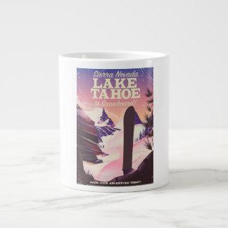 Lake Tahoe Sierra Nevada USA Snowboarding poster Large Coffee Mug