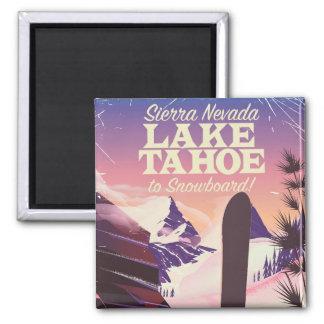 Lake Tahoe Sierra Nevada USA Snowboarding poster Magnet