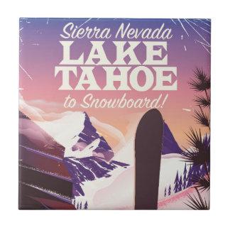 Lake Tahoe Sierra Nevada USA Snowboarding poster Tile