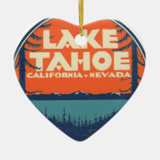 Lake Tahoe Vintage Travel Decal Design Ceramic Heart Ornament