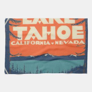 Lake Tahoe Vintage Travel Decal Design Kitchen Towel
