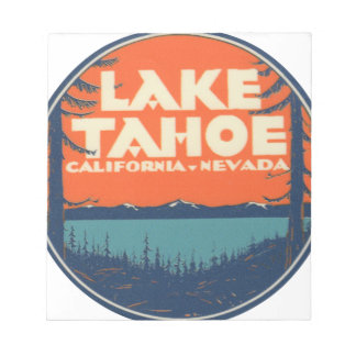 Lake Tahoe Vintage Travel Decal Design Notepad