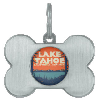 Lake Tahoe Vintage Travel Decal Design Pet ID Tag