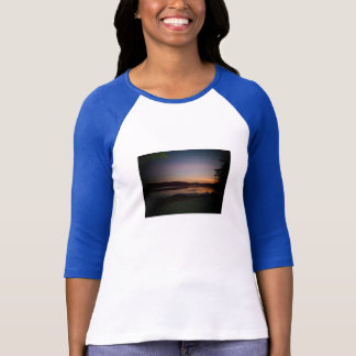 Lake View/Sunset Design Baseball T-Shirt