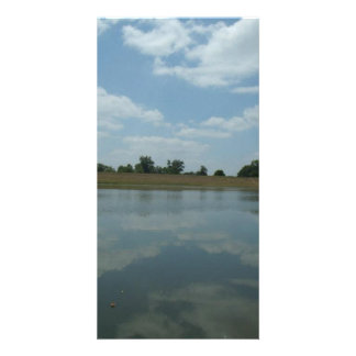 Lake Water Reflects the skies Fluffy White Clouds Customized Photo Card