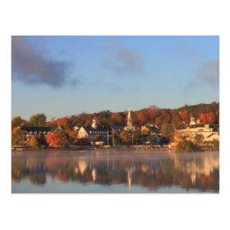 Lake Winnipesaukee Autumn Meredith Waterfront Postcard